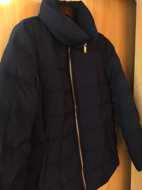 Пуховая темносиняя куртка