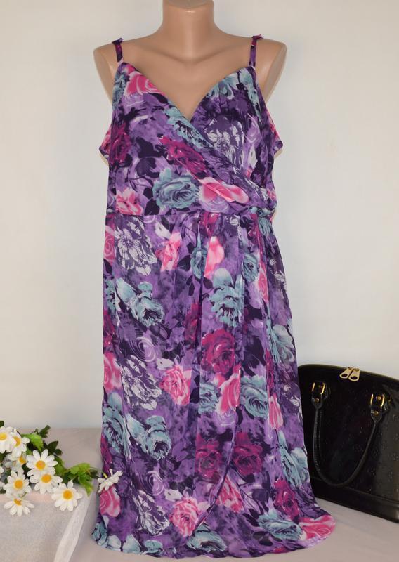 Шифоновое нарядное платье changes by together принт цветы боль...