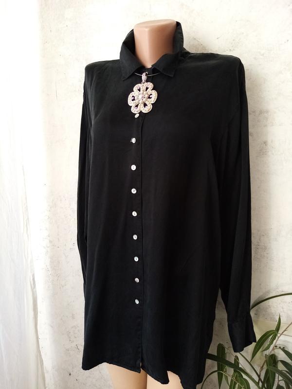 Блуза, рубашка, удлинённая, натуральный шёлк, 48-50