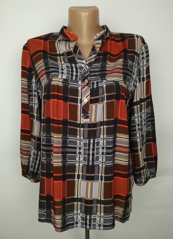 Блуза натуральная оригинальная в клетку на кокетке на лето uk ...