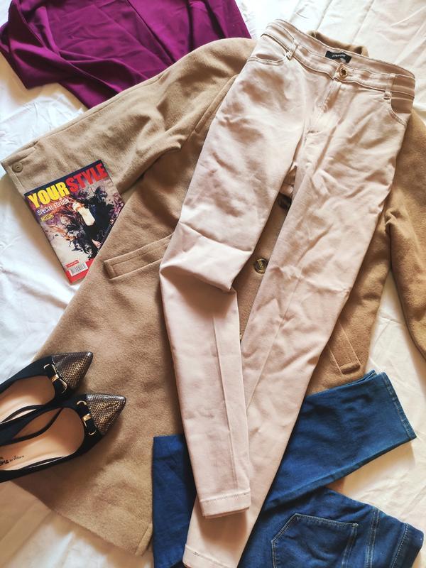 Брюки джинсы повседневные бежевые большого размера скинни