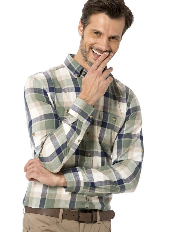 Мужская рубашка lc waikiki хаки в клетку, с пуговицами на воро...