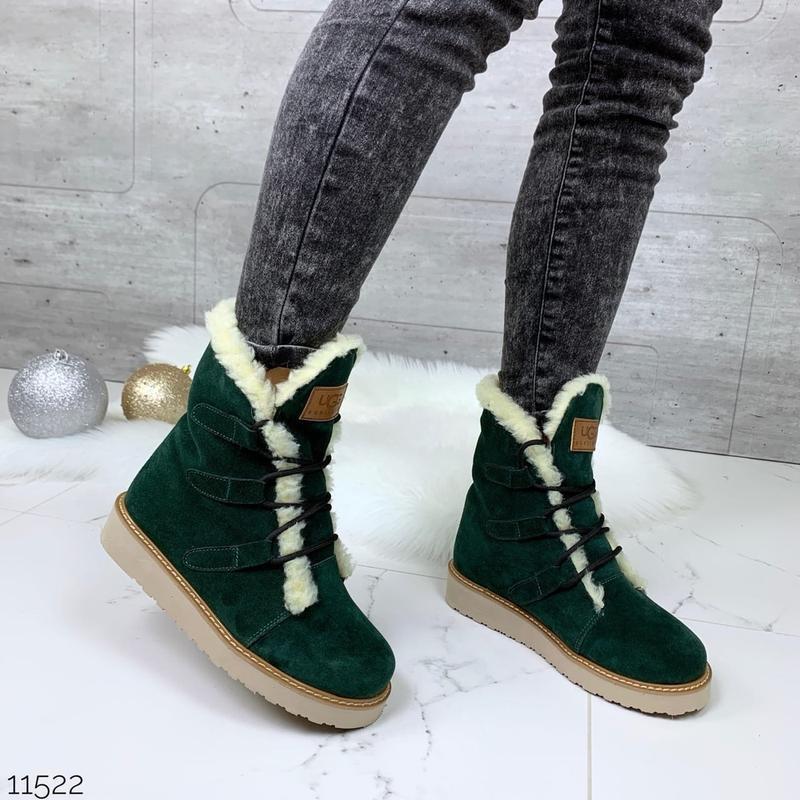 ❤ женские зеленые зимние замшевые ботинки сапоги полусапожки б...