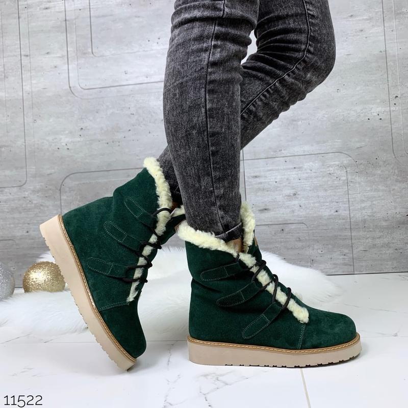 ❤ женские зеленые зимние замшевые ботинки сапоги полусапожки б... - Фото 3
