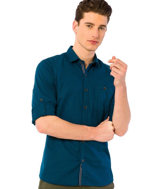 Мужская рубашка lc waikiki / лс вайкики цвета морской волны