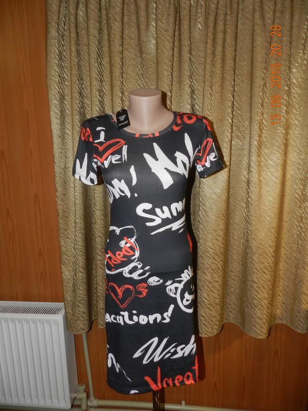 ✅ весёлое мини платье с надписями и мордочками 3-х цветов стрейч