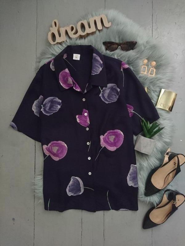Актуальная лёгкая блуза в крупный цветочный принт №34max