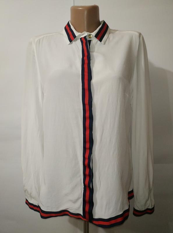 Натуральная стильная белая блуза uk 14/42/l