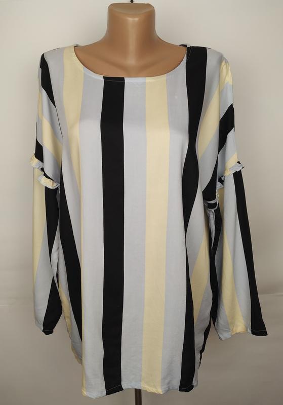 Блуза натуральная стильная в полоску uk 14/42/l