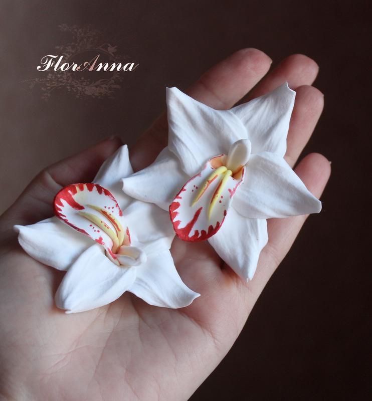 Заколки орхидеи ручной работы (1шт)6,5-7см