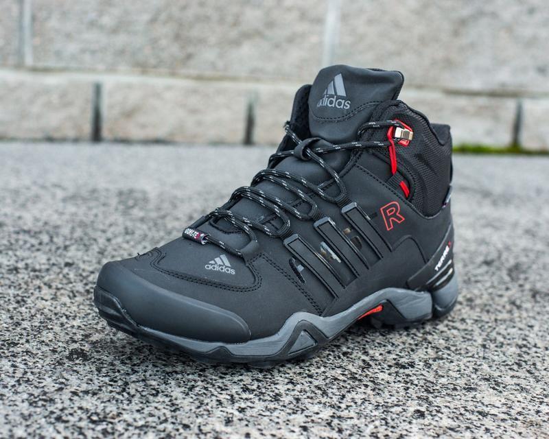 Зимние мужские высокие чёрные кроссовки адидас с мехом, adidas... - Фото 2