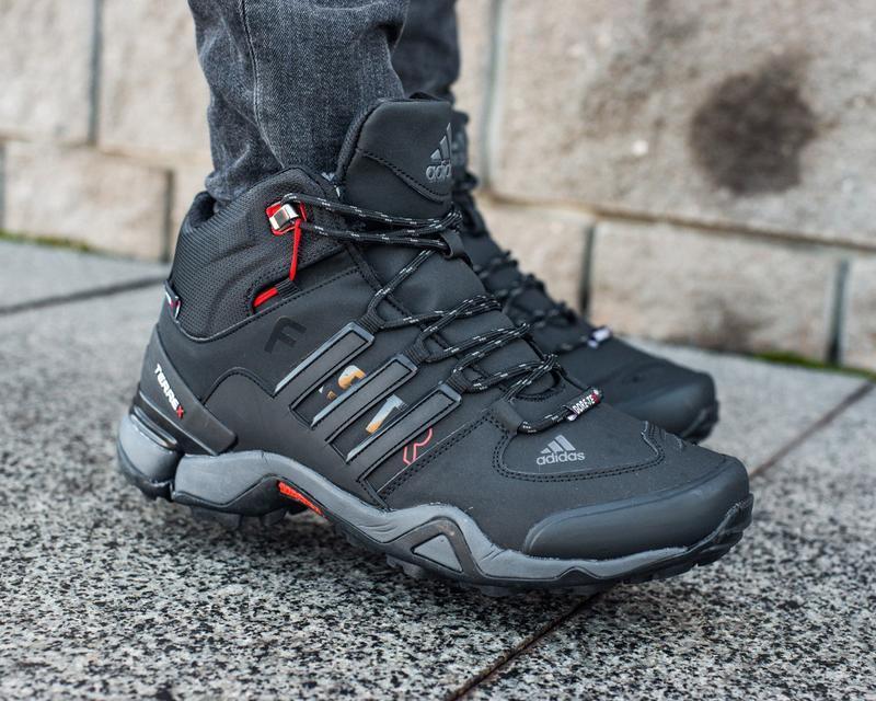 Зимние мужские высокие чёрные кроссовки адидас с мехом, adidas... - Фото 3