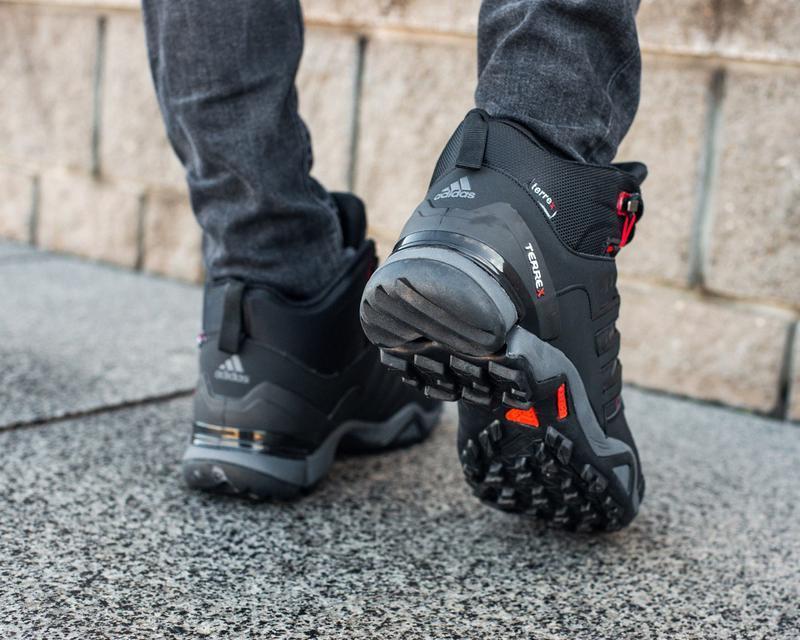 Зимние мужские высокие чёрные кроссовки адидас с мехом, adidas... - Фото 4
