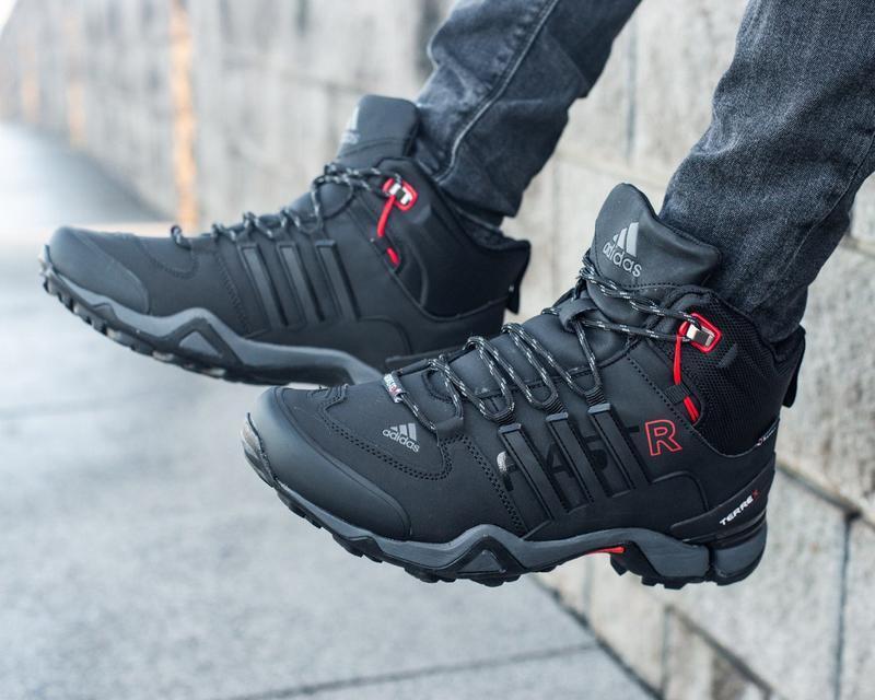 Зимние мужские высокие чёрные кроссовки адидас с мехом, adidas... - Фото 5