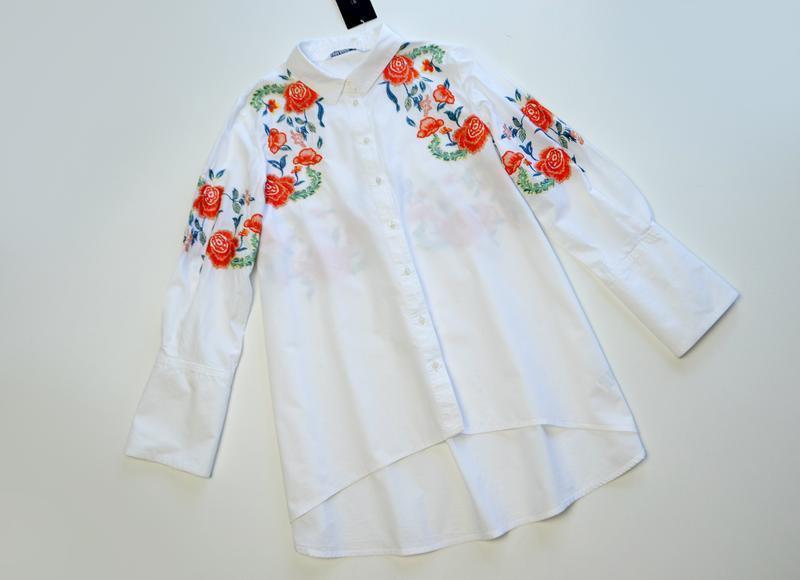 Zara стильная белая блуза рубашка с вышивкой цветы