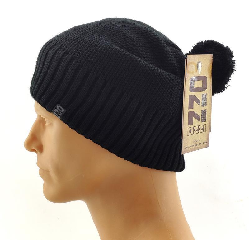 Вязаная шапка мужская с помпоном