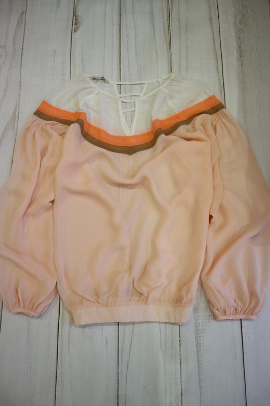 Шифоновая блузка-свитшот с контрастными полосами, 5xl-6xl