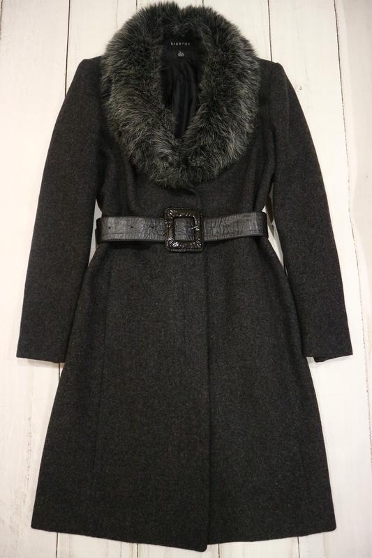 Шерстяное пальто под пояс, l-xl