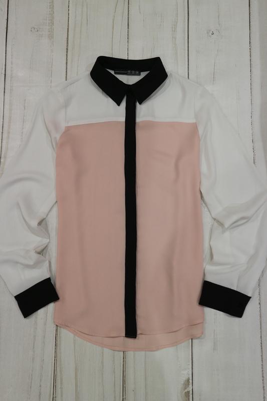 Блузка, рубашка комбинированной расцветки, s-m