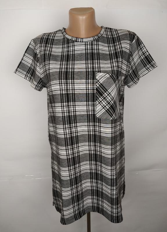 Блуза модная в клетку плотный трикотаж zara uk 10/38/s