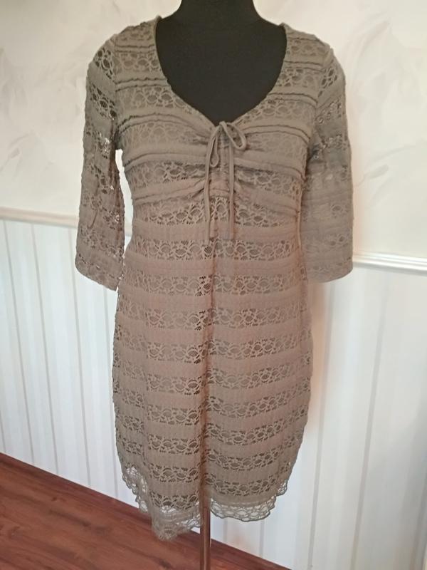 Трикотажное ажурное платье на подкладке цвета хакки, размер 50...