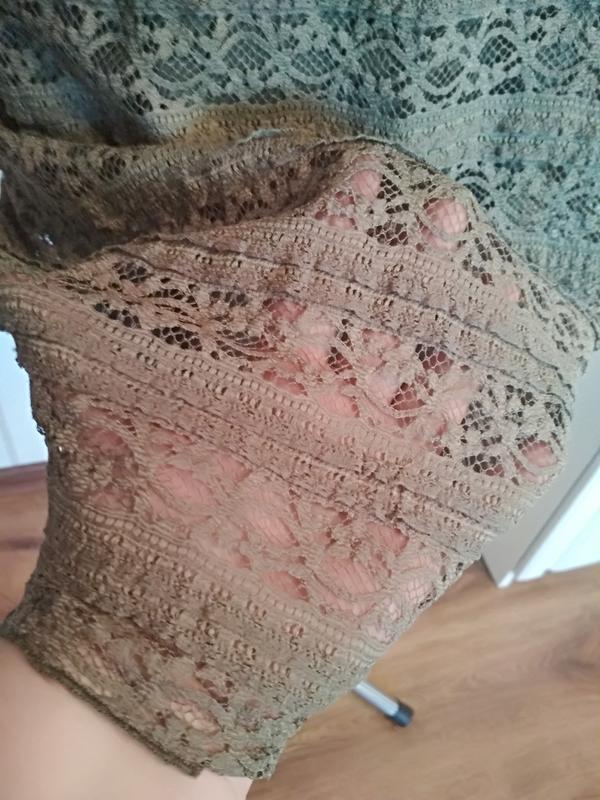 Трикотажное ажурное платье на подкладке цвета хакки, размер 50... - Фото 4