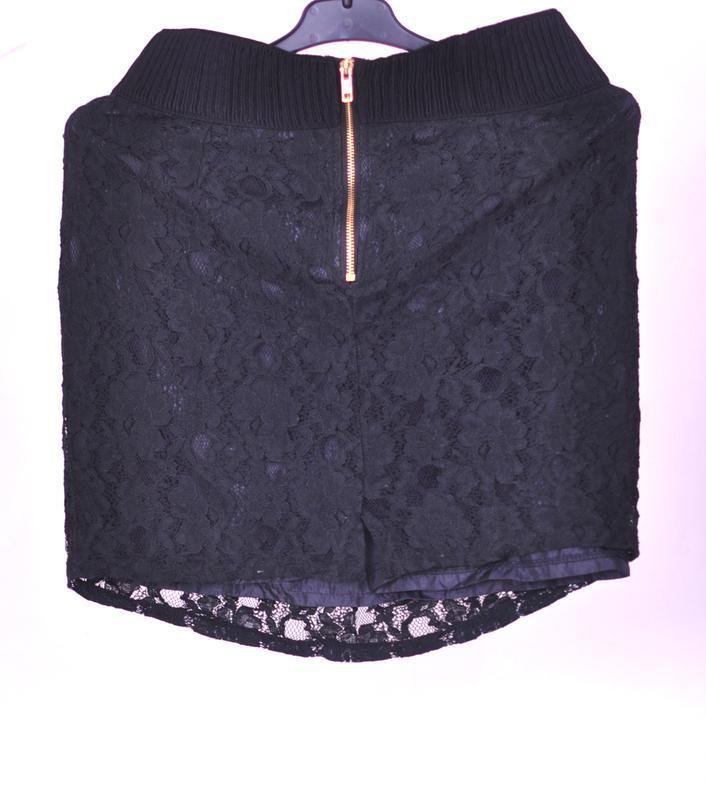 Черная гипюровая юбка