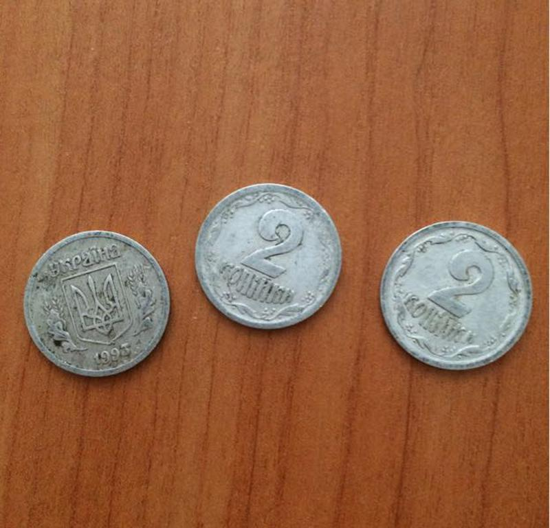 украинские монеты 2 коп 1993 г.