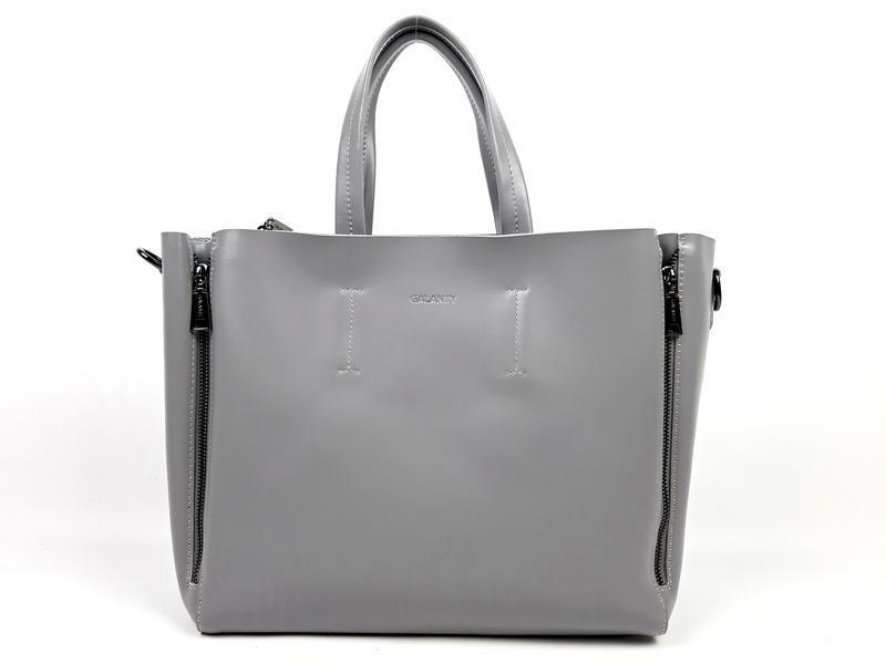 Большая кожаная сумка серая, galanty - Фото 2