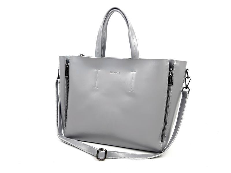 Большая кожаная сумка серая, galanty - Фото 3