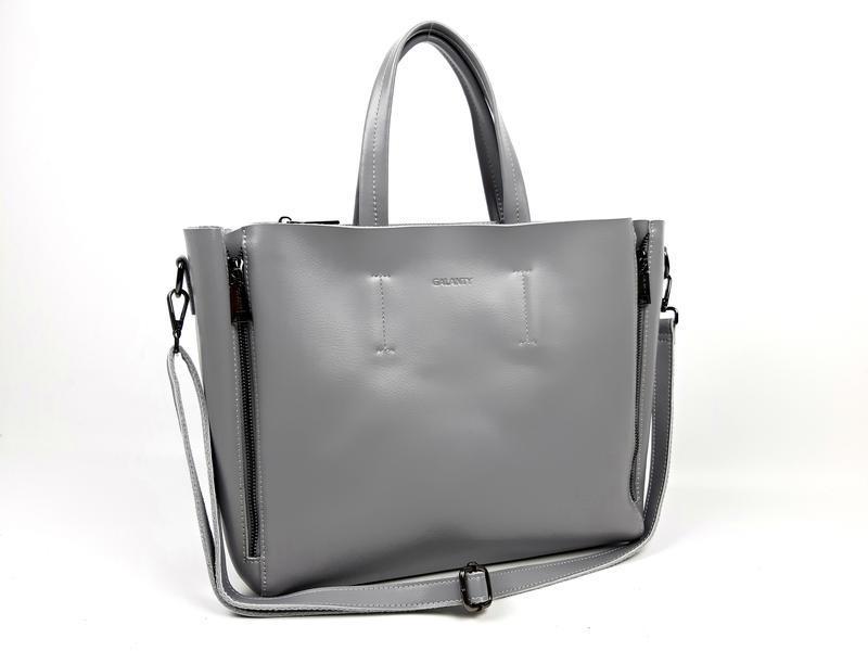 Большая кожаная сумка серая, galanty - Фото 4