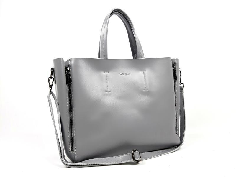 Большая кожаная сумка серая, galanty - Фото 5