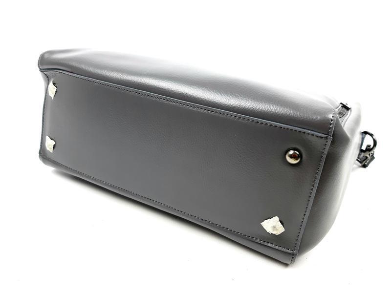 Большая кожаная сумка серая, galanty - Фото 6
