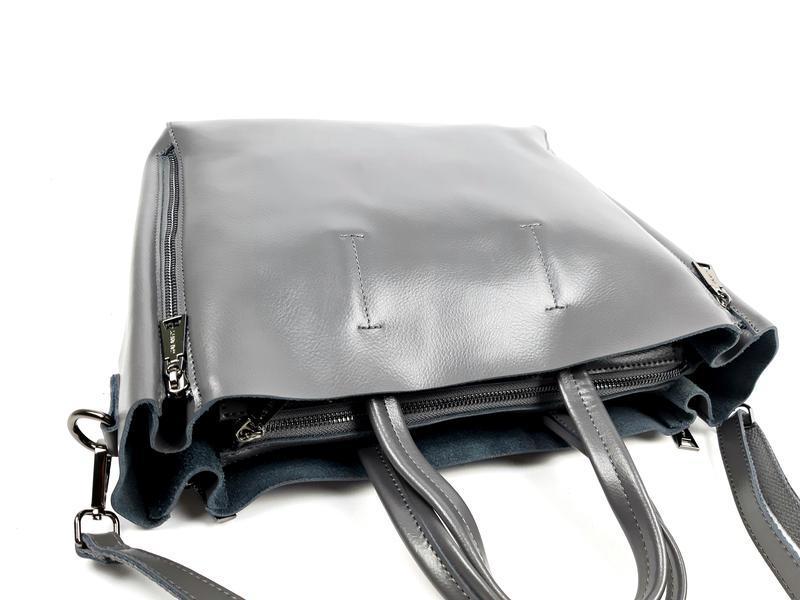 Большая кожаная сумка серая, galanty - Фото 7