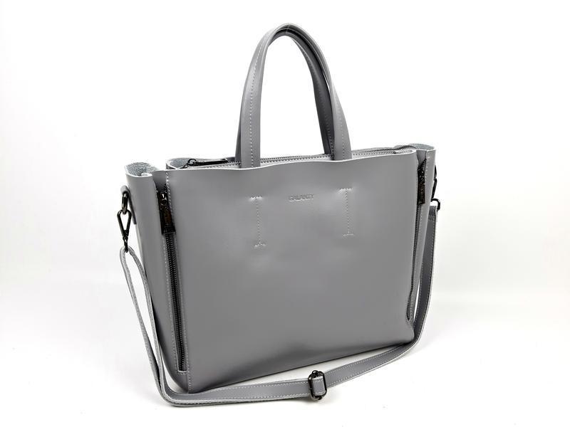 Большая кожаная сумка серая, galanty - Фото 8