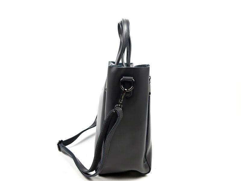 Большая кожаная сумка серая, galanty - Фото 9