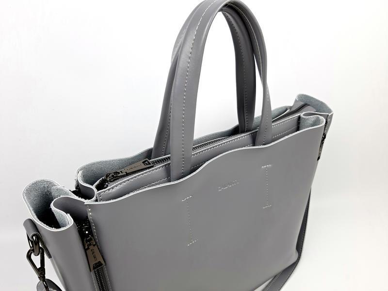 Большая кожаная сумка серая, galanty - Фото 10