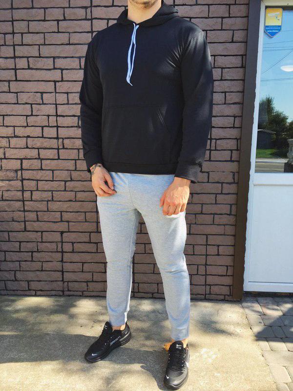 Мужской спортивный костюм - чёрно-серый