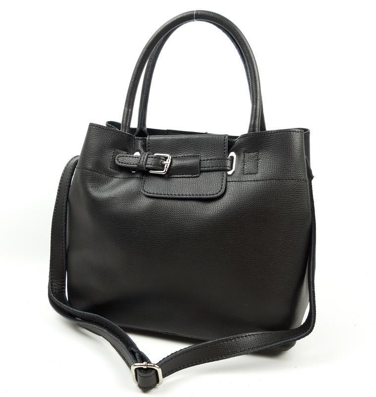 Женская кожаная сумка черного цвета, galanty подробнее - Фото 6