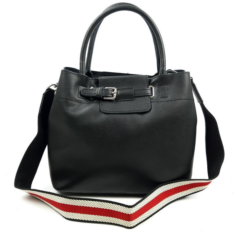 Женская кожаная сумка черного цвета, galanty подробнее - Фото 7