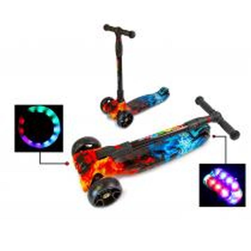 Самокат Smart Scooter Огонь и Лед Складная ручка