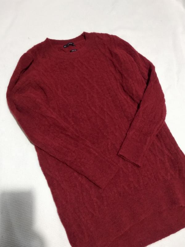 Удлиненный теплый свитер пуловер кофта с косами zara - Фото 4