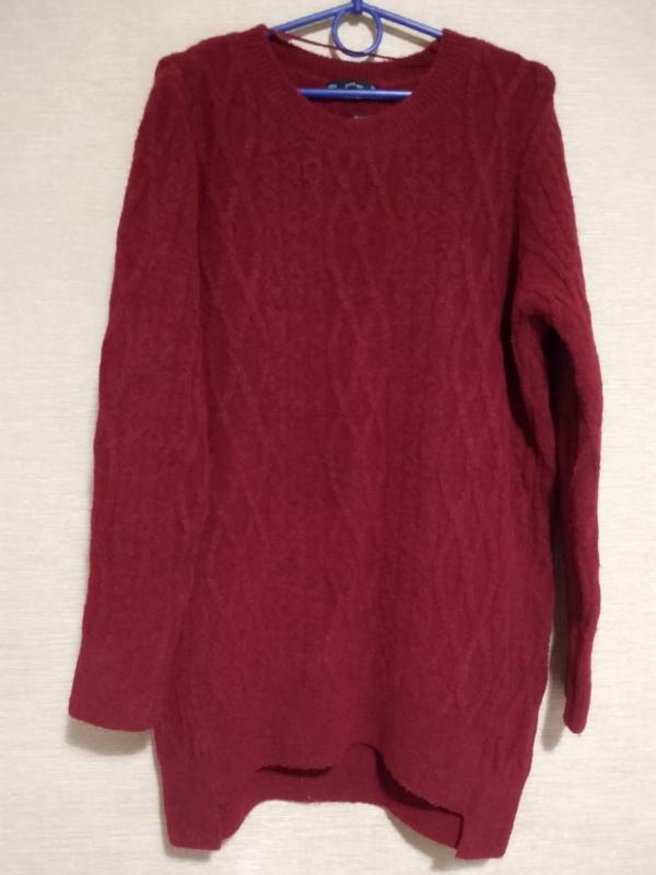 Удлиненный теплый свитер пуловер кофта с косами zara - Фото 5