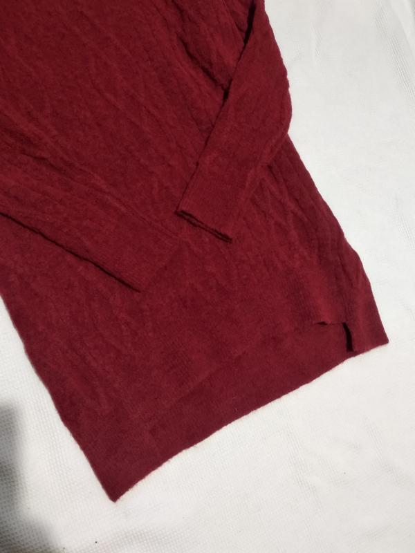 Удлиненный теплый свитер пуловер кофта с косами zara - Фото 6