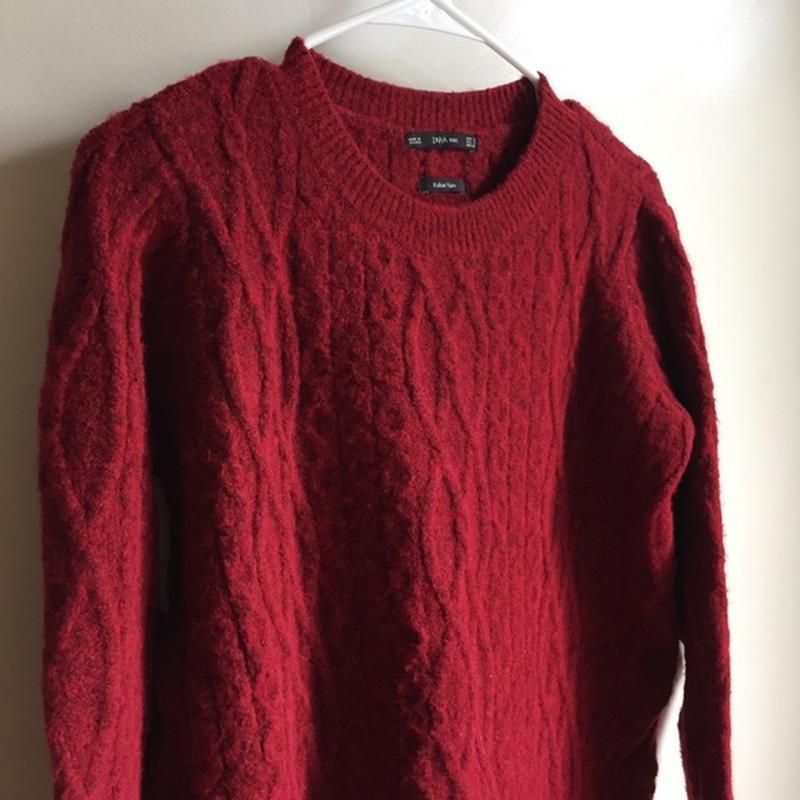 Удлиненный теплый свитер пуловер кофта с косами zara - Фото 2