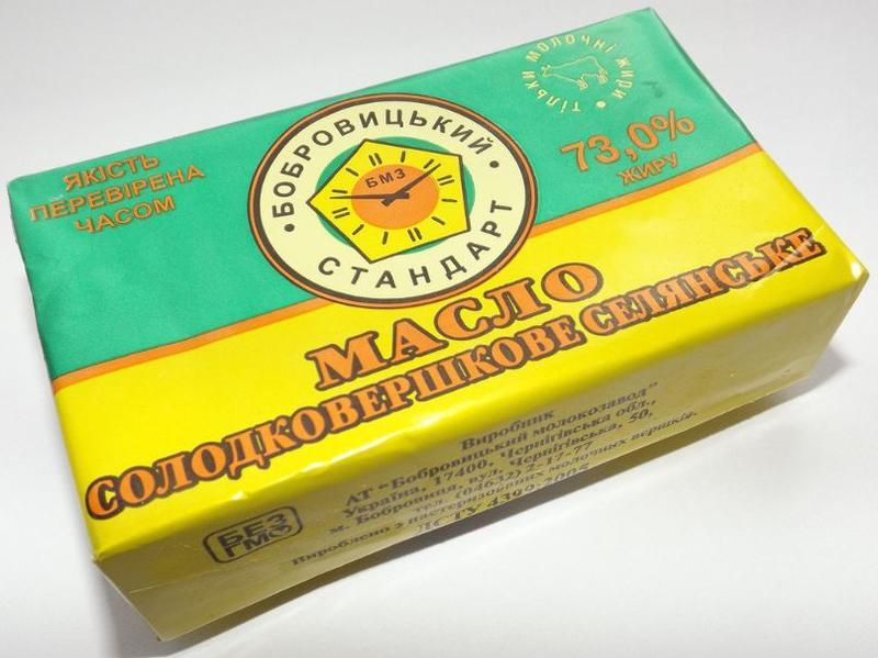 Масло сладкосливочное, 82, 5%, 73%,ГОСТ
