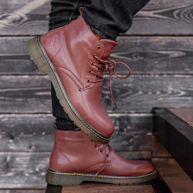 ✳️зимние✳️ботинки south warfare coffe, мужские кожаные красные... - Фото 2