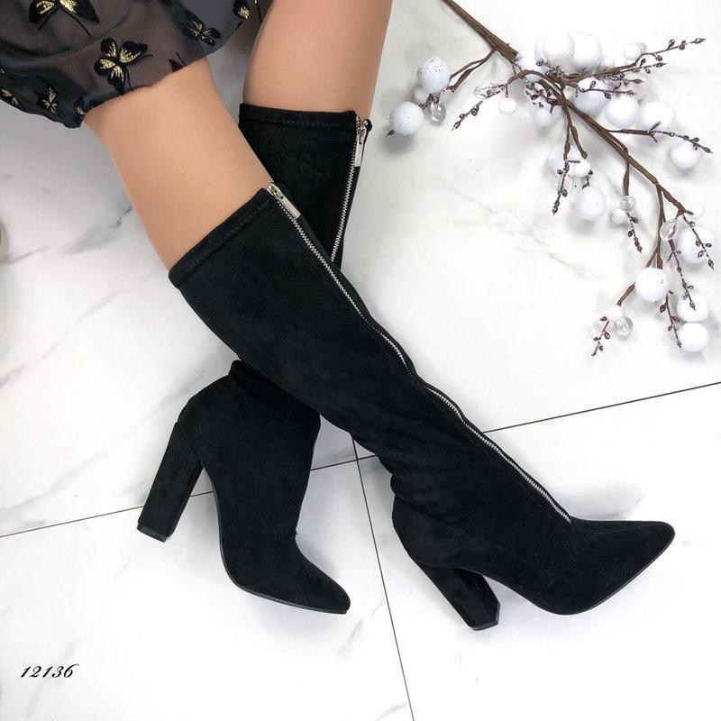 Женские сапоги на каблуке замшевые с молнией спереди - Фото 5