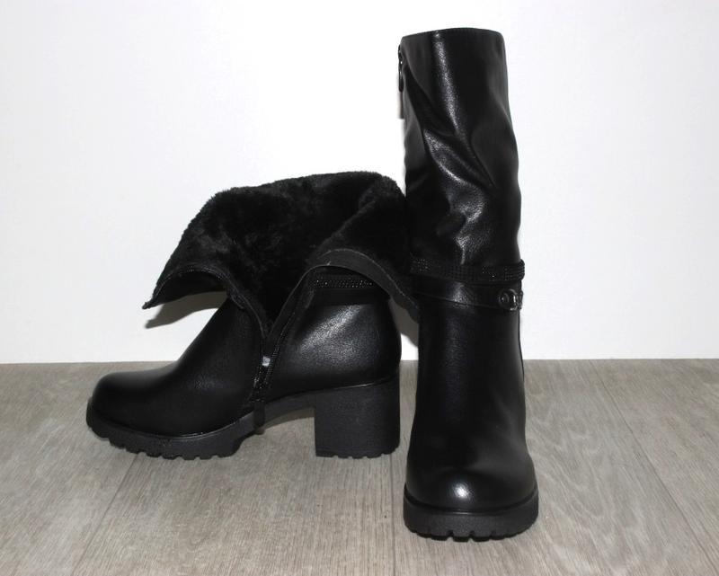 Женские зимние черные полусапоги средний каблук - Фото 2