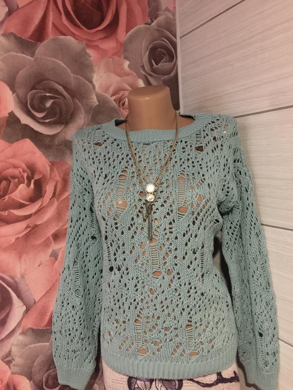 Супер -модный свитер с ажурным «дырчатым» узором.48 р!прелесть! - Фото 2